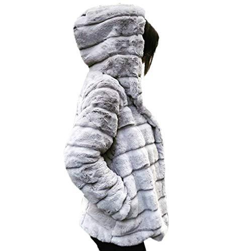 FNKDOR Manteaux en Fausse Fourrure pour Femmes d'hiver Chaud Épais Veste à Capuche Cardigan Furry Occasionnels Outercoat (B Blanc,2XL=FR(44))