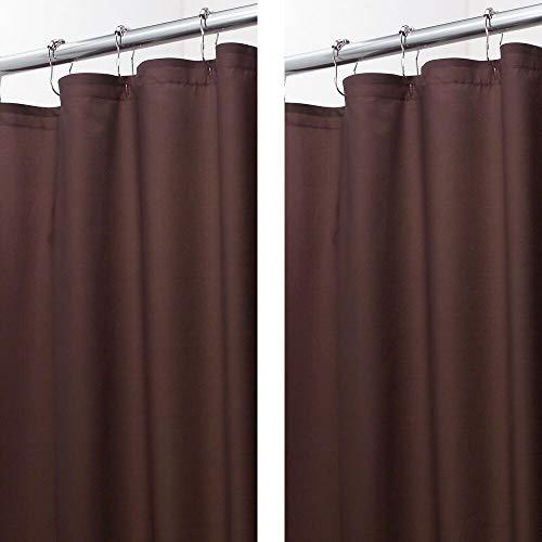 mDesign Weicher Duschvorhang aus 100 prozent Mikrofaser-Polyester, dekoratives geprägtes Muster, für Badezimmer-Duschen & Badewannen, maschinenwaschbar, 182,9 x 213,4 cm, Schokoladenbraun, 2 Stück
