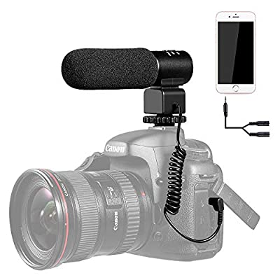 Shotgun Microphone,K&F Concept CM-500 Video Microphone Photography External On-Camera Youtube Interview Mic for Canon Nikon DSLR Cameras Camcorder(with 3.5mm Interface)&Smart Phone Iphone/Samsung