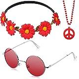 collar de cuentas de símbolo de la paz, diadema de corona de flores y gafas de sol hippie de los años 60 y 70