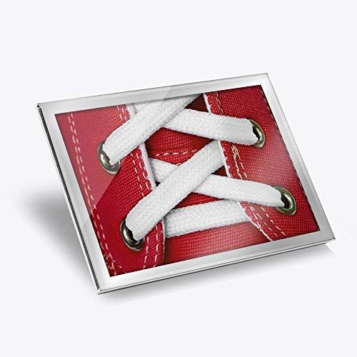 Destination 14609 Set de table en vinyle argenté 20 x 25 cm – Rouge Retro Entraîneur Lacets Formateurs Chaussures Workplace de Table Tapis de salle à manger Lavables Imperméables