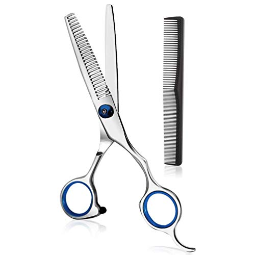 Effilierschere Haarschere Profi, Extra scharfe Friseurschere mit Gezahnt, Edelstahl Haarschneideschere zum ausdünnen, Präziser Schnitt, Modellierschere für Kinder Damen und Herren