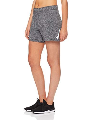 Nike Dry Swoosh 933685, Pantalones Cortos para Mujer, Gris (Black/White/010), L