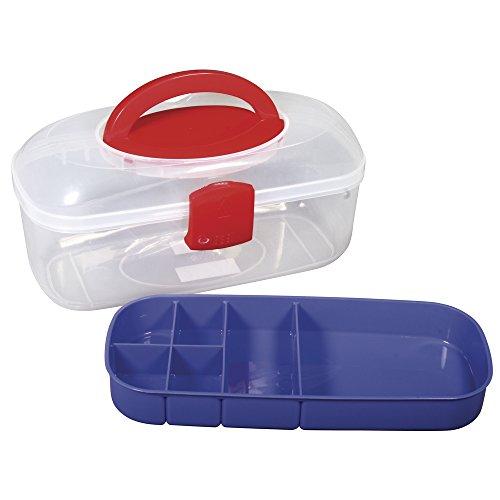 Rayher 39254000 Sortierbox, mit Tragegriff und Einsatz, transparent, 27,8 x 12,1 x 13,1 cm, Nähkasten oder Aufbewahrung für Bastelmaterial, Schmuck, Spielzeug, Werkzeug