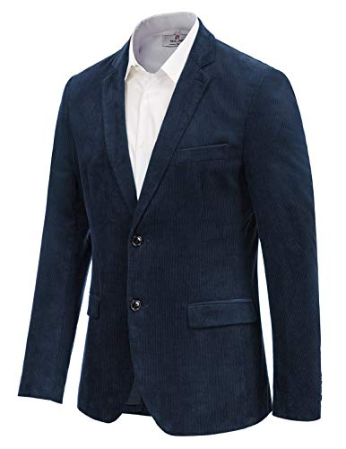 Mens Casual Slim Fit 2 Button Corduroy Sport Jacket Navy Blue Blazer