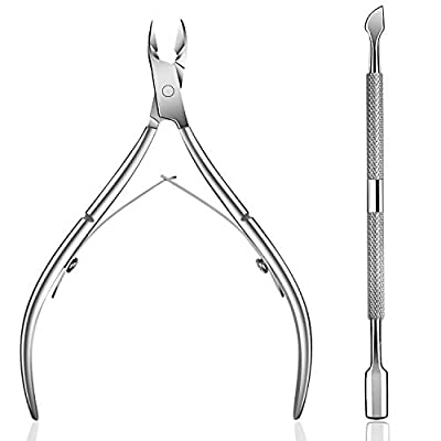 Ejiubas Cuticle Pusher Cuticle Nipper Surgical Grade Stainless Steel Cuticle Trimmer Cuticle Remover Tool Set for Fingernails and Toenails Pedicure Manicure Tools