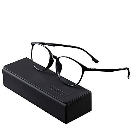 Ramlinku パソコン用メガネ ブルーライトカット メガネ 度なし PCメガネ pcブルー ライト カット メガネ 超軽量 UVカット ブルー遮光 メガネ 紫外線カット ウェリントン 男女兼用 輻射防止