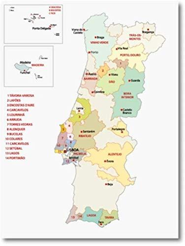 WANGHH Portugal regiones vinícolas Mapa Cartel Pared Arte Imagen Impresiones Italia Hungría Vino Francia regiones mapas Arte Lienzo Pintura decoración del hogar-60x80 cm sin Marco
