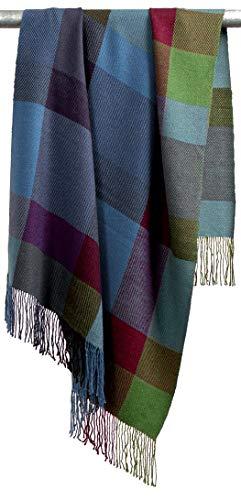 Lorenzo Cana Premium Alpakadecke 100prozent Alpaka Fair Trade Decke Wohndecke handgewebte Sofadecke Tagesdecke Kuscheldecke Karo Design mit Fransen - 96032