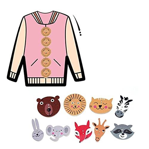 Hainice 50pcs de Madera Mixtos Los Animales Coloridos Linda Forma de la Cabeza del Retrato del patrón 2 Agujeros de Costura de Scrapbooking del Arte DIY Botones