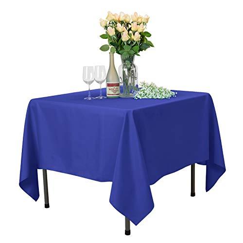 VEEYOO Mantel Cuadrado 100% Poliéster Mantel Suave para Mesa Interior y Exterior - Mantel de Cena Sólido para Bodas Partido Restaurante Cafetería (Azul Real, 178x178 cm)