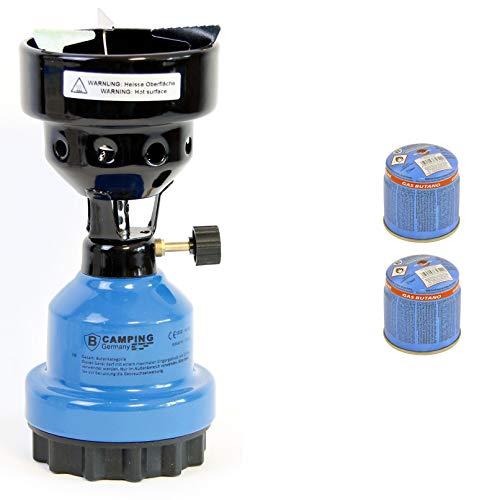 Campingkocher und Shisha- Kohleanzünder Anzünder 2in1 Metall Gaskocher Shishakocher aus Metal (Blau, 4 x Gas)