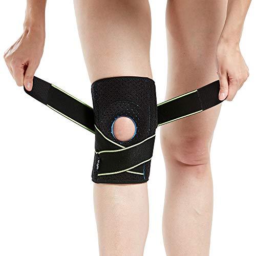 Tutore per ginocchio con stabilizzatori laterali e cuscinetti in gel per la rotula, per supporto del ginocchio