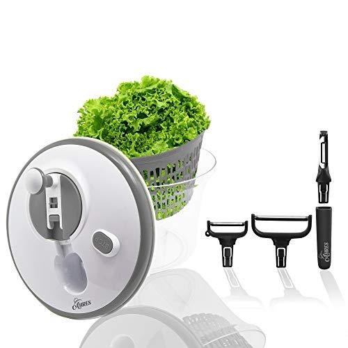 Ahres Salatschleuder 5L,Profi Salad Spinner, Deutsches Design,inkl. Sparschäler-Set,BPA Frei