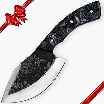 Hobby Hut HH-335 Couteau de Chasse avec Lame Fixe et étui, 22.86 cm, Couteau en Acier au Carbone 1095, Manche en Bois Pakka pour la Chasse et Le Camping