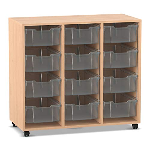 Flexeo Regal PRO mit Boxen - Holz-Regal Raumtrenner Büromöbel Aufbewahrungsregal