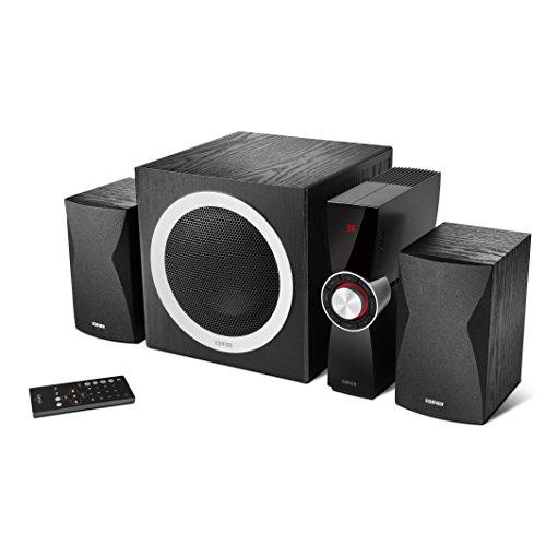 Edifier C3X 2.1 Lautsprechersystem (65 Watt) mit Infrarot-Fernbedienung, Audio-Wiedergabe von USB und SD-Karte schwarz