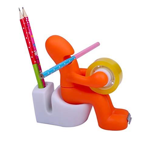 [クイーンビー] 1台4役 セロテープ カッター ペン立て クリップ 収納 メモ スタンド おもしろ デザイン インテリア 多機能 オフィス 机 卓上 用品 (オレンジ)