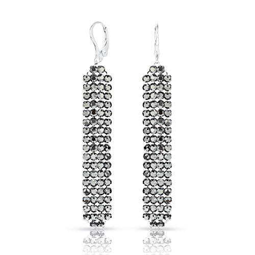 LA SENJA Swarovski Sparkly Black Glamour Earrings for Women, Handmade Long Drop Crystal Mesh Earrings, 316L Surgical Steel Earrings
