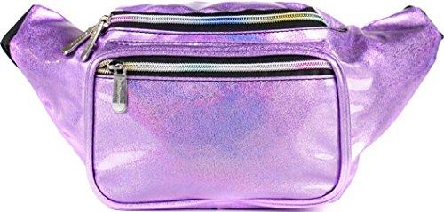 SoJourner Holographic Rave Fanny Pack - Packs for festival women, men | Cute Fashion Waist Bag Belt Bags (Purple Glitter)