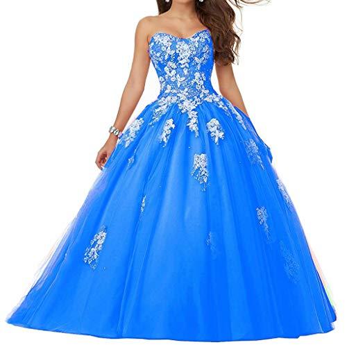 Vantexi Damen Spitze Tüll A-Linie Ballkleid Lang Abendkleider Brautkleider Quinceanera Kleider Himmelblau Größe 34