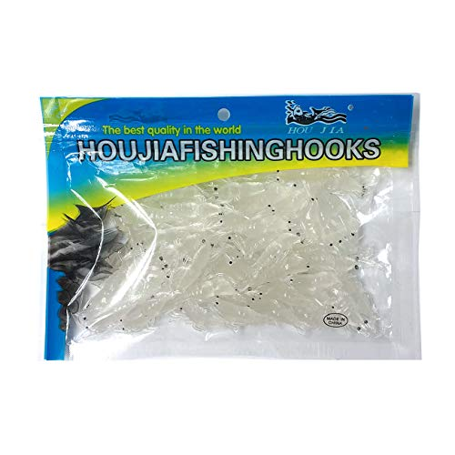 Wild.life Trout Bass Crappie Scented Micro Grass Shrimp Lures Bait (White) Minnesota