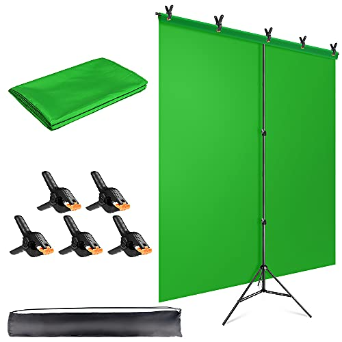 HEMMOTOP 5x6.5ft Green Screen Backdrop Stand Kit with Photography Green Muslin Background Screen and 5 Clip Clamps,for Photo Video Studio