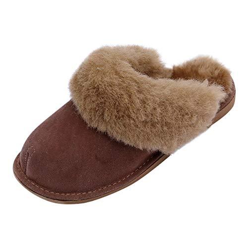 Hollert Leather Lammfell Hausschuhe New Zealand Premium Damen Fellschuhe aus 100% Merino Schaffell Größe EUR 36, Farbe Braun