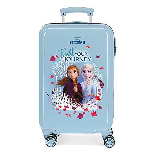 Disney Frozen Trust your journey Maleta de cabina Azul 37x55x20 cms Rígida ABS Cierre combinación 32L 2,5Kgs 4 ruedas dobles Equipaje de Mano