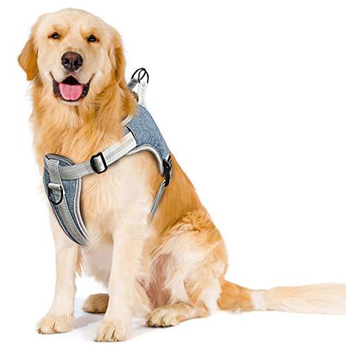 TAMOWA Hundegeschirr, Einstellbare Anti Zug Geschirr Reflektierend Atmungsaktiv Geschirr Hunde Brustgeschirr, No Pull Sicherheitsgeschirr für Große Mittlere und Kleine Hunde, Blau XL