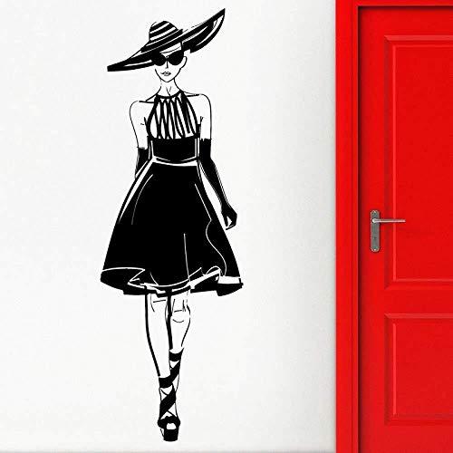 Etiqueta de la pared Vinilo removible Etiqueta de la pared Aplicación Chica sexy Desfile de moda Estilo Modelo Pasarela Tienda de ropa Centro comercial Etiqueta de decoración 42x127cm