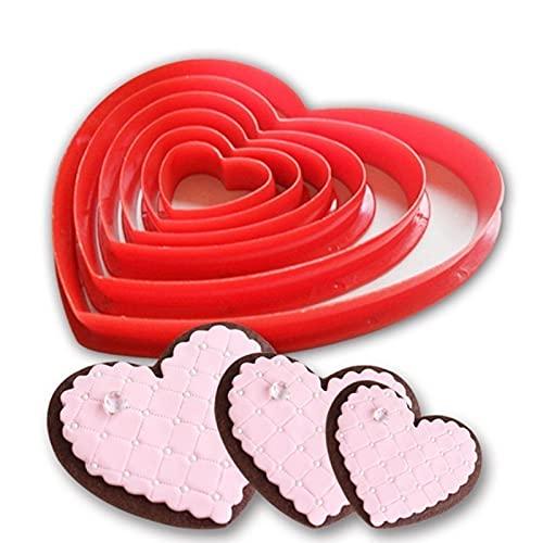 WOJING Molde de Silicona 6 unids corazón Galletas Galleta Fondant Cortador Cortador decoración Herramientas Molde de azúcar artesanía Conjunto de plástico Cortador de Galletas