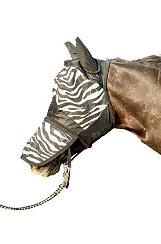 HKM Fliegenschutzmaske -Zebra- mit Nüsternschutz, weiß/schwarz, Warmblut