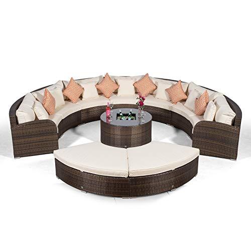Giardino Riviera 7 Sitzer Rattan Gartenmöbel Set Braun - Sofa, Eiskühler Tisch, 2X Ottoman + Abdeckungen - Garten Loungemöbel Set 10-teilig - Halbrund