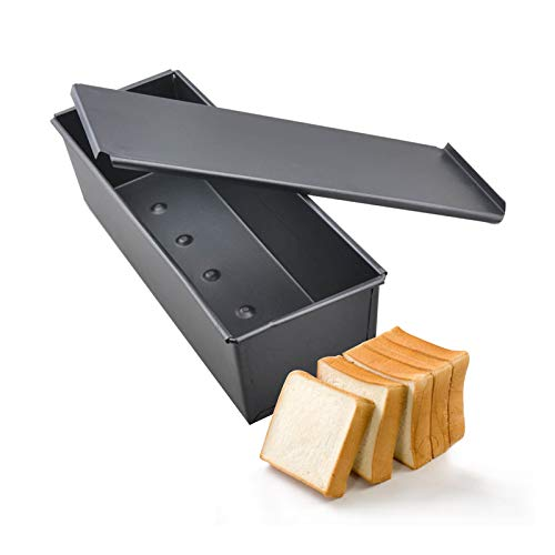 UgyDuky Pullman Loaf Pan With Cover/Baking Mould Cake Toast Bread Mold/Non-Stick Toast Box with Lid, 12 x 4 x 3 inch