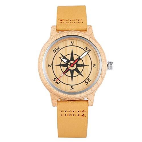 LCDIEB Ahorn Holz Herrenuhr Kompass Dekoration Rundes Zifferblatt Holz Herren Damenuhren Echtes Leder Uhrband Quarzuhren Uhr, nur Uhr