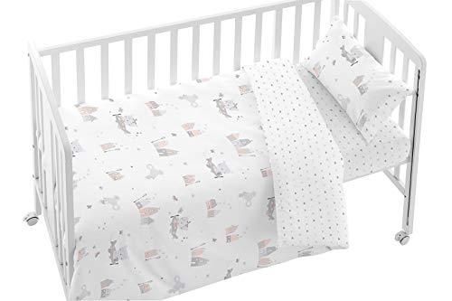 BURRITO BLANCO Juego de Funda Nórdica Bebé para Cuna 007 con Un Diseño de Casitas y Graciosos Animalitos/Funda Nórdica para Cuna 60x120 cm 100% Algodón, Colores Gris y Rosa