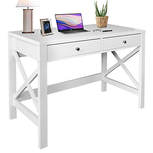 ChooChoo Home Office Desk Writing Computer Table Modern Design White Desk with Drawers, Makeup Vanity Table