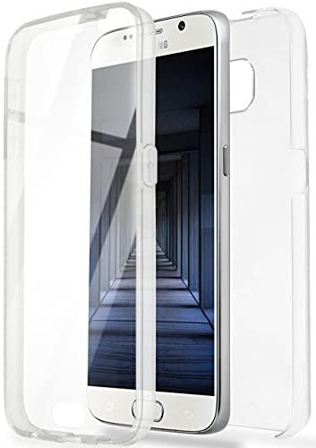 ONEFLOW Touch Case für Samsung Galaxy S6 Hülle beidseitig stoßfest, Schutzhülle vorne und hinten, 360 Grad Komplettschutz, Handyhülle transparent mit Displayschutz - Klar