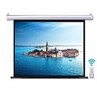 電動プロジェクタースクリーン60インチ (16:9/4:3)3D HD 電動格納 リモコン付き壁掛け 視野角160°屋内自動リフトスクリーン (16:9)