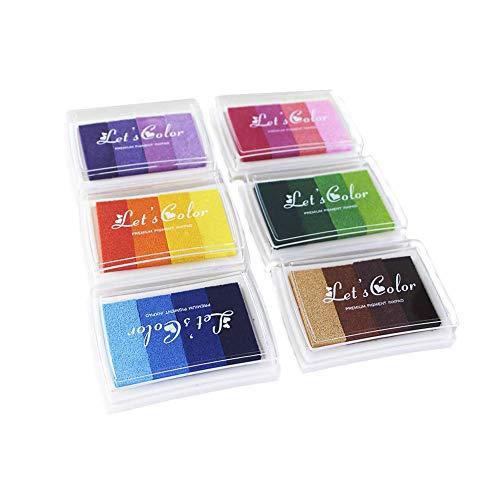 6 Piezas Almohadillas de tinta, 24 colores Arcoiris Tinta Almohadilla Juegos,Almohadilla de tinta de dedo para manualidades,Sello Tampón,Scrapbooking,Niños No Tóxico