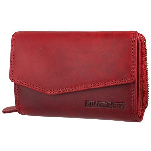 Hill Burry Echtleder Damen Geldbörse Hochwertig Vintage Chunkyrayan 13092 Red