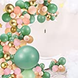 150 Pieces Sage Green Peach Blush Pink Balloon Garland Arch Kit White Mint Green Dark Green Gold Pink Latex Balloons for Jungle Safari Theme Baby Bridal Shower Birthday Party Decorations