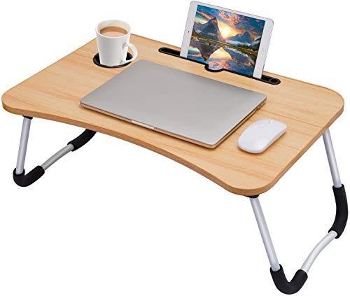 Home Ware Mesa De Madera para Laptop Plegable para Sillon Bandeja Desayunador Portatil Cama Soporte Computadora (Madera Oscura)