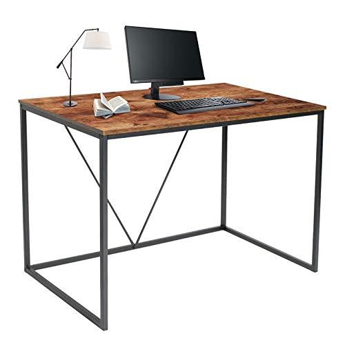UFLIZOGH Escritorio rústico para ordenador, de madera, industrial, para el hogar, oficina, escritorio pequeño, portátil, escritorio de escritura, marrón, 110 x 60 x 75 cm)