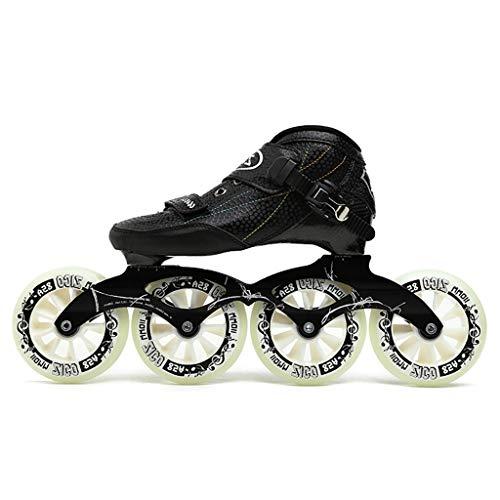 Ailj 大人のプロのインラインスケート、 4 * 90-110MMダービーホイール 子供用カーボンファイバープロ用ローラーブレード ブラックインラインスピードスケート 赤青 (Color : Black, Size : EU 44)