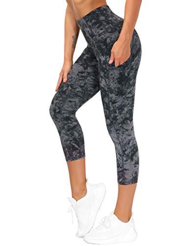 THE GYM PEOPLE Dicke Yogahose mit hoher Taille, mit Taschen, Bauchkontrolle, Workout, Laufen, Yoga, Leggings für Frauen - Z-Capris GrayMarble, size: Mittel