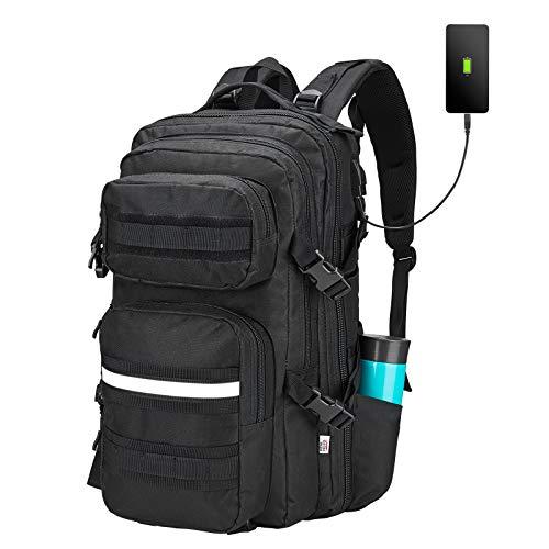 Motorcycle Backpack for men Tactical Backpack 3 Day Travel Molle Bag Large Work Backpack for Hunting Camping Hiking 42L Black