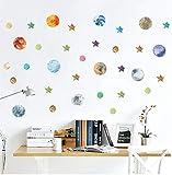 Sistema solar espacial vía láctea etiqueta de la pared dormitorio decoración del hogar estrellas fluorescentes constelación de la luna etiqueta de la pared pvc poster 72 * 145cm
