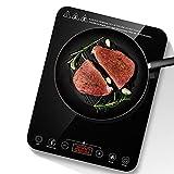 Placa de inducción de 2000 W, placa de inducción única con sensor LCD táctil y superficie de cristal negro, 10 niveles de potencia, temporizador de 180 minutos y bloqueo de seguridad.